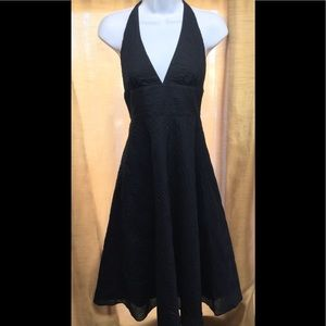 J Crew Black Halter V-neck Black Dress